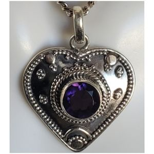 Jewelry - 1ct Amethyst, Heart Pendant/Necklace 1' long